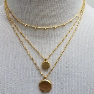 MADEWELL Coin Layered 3 Necklaces Gold Circle NWT